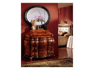 Milano specchiera 834, Specchiera ovale con cornice in legno, classico di lusso