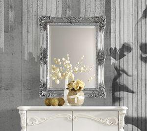 Puccini Art. 7620, Specchio da parete con cornice foglia argento