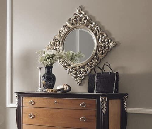 R89 / specchiera, Specchio tondo, con cornice intagliata quadrata