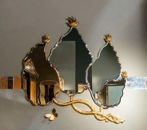 SP30 specchiera, Specchiera a forma di foglie con finitura foglia oro