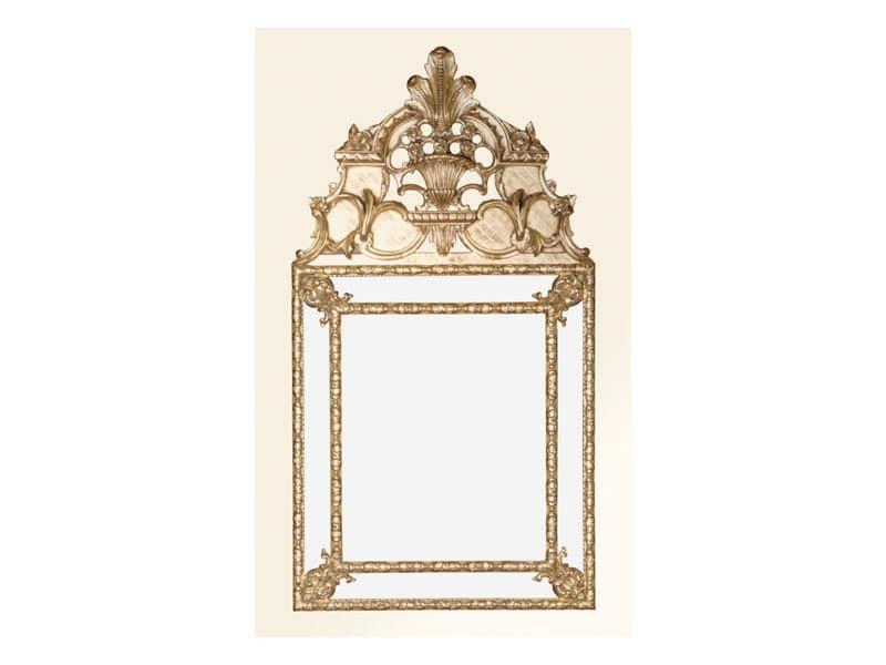 Specchiera art. 105, Specchiera quadrata con cornice decorata, stile Luigi XIV