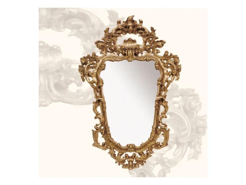 Specchiera art. 113, Specchio con cornice in legno, stile Rococò