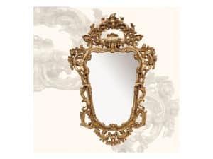 Specchiera art. 113, Specchio con cornice in legno, stile Rococ�