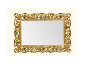 Specchiera art. 116, Specchiera orizzontale con cornice in legno intagliato