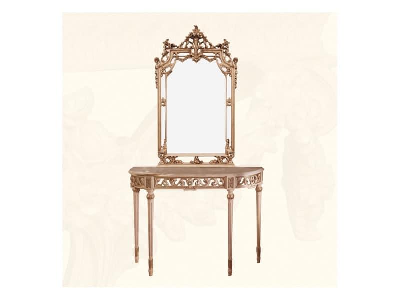 Specchiera art. 117/a, Specchiera in stile classico con finitura avorio e foglia oro
