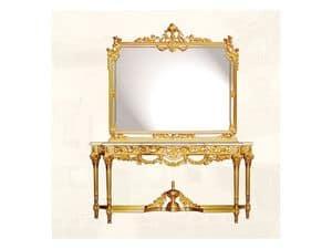 Specchiera art. 117/c, Specchiera di lusso con cornice in legno decorato