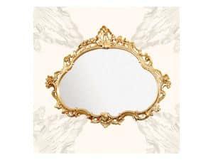Specchiera art. 120, Specchiera con cornice in legno, stile barocchino