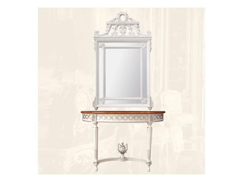 Specchiera art. 131, Specchiera rettangolare con cornice in legno, stile Luigi XVI