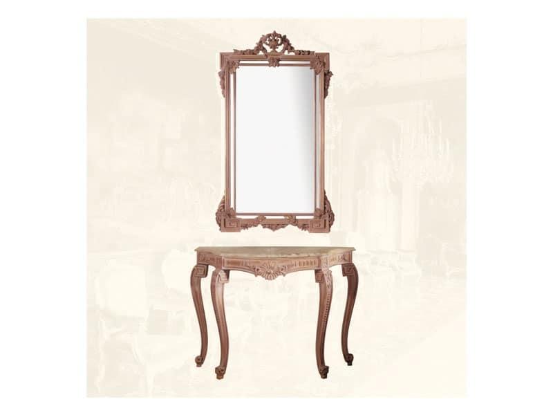 Specchiera art. 135, Specchiera rettangolare con cornice in legno di tiglio