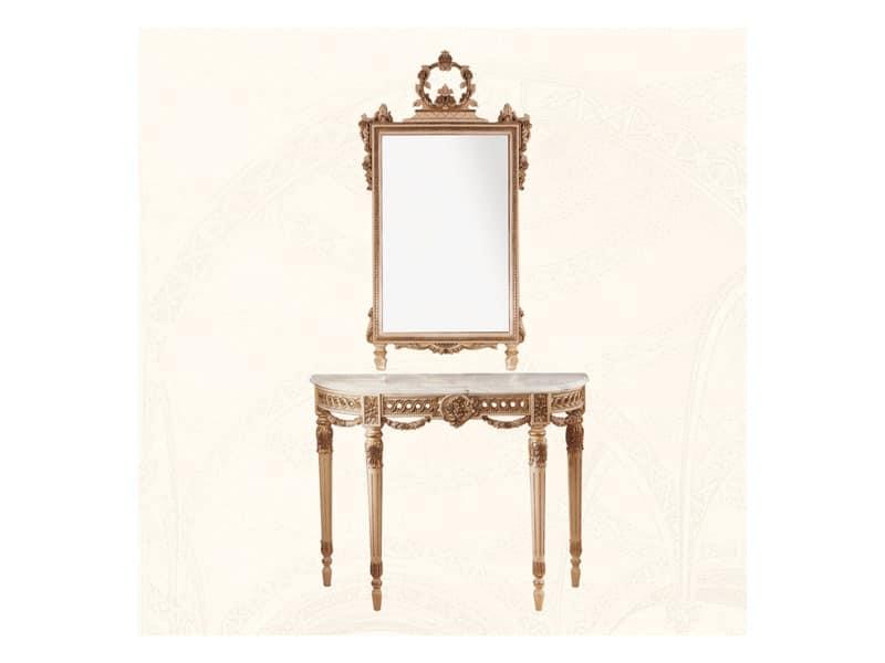Specchiera art. 138, Specchio con cornice in legno decorata con fiori
