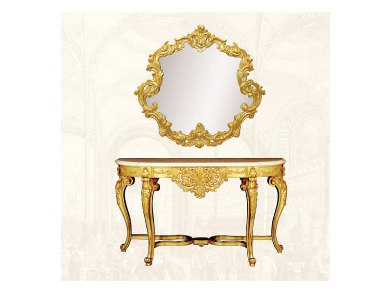 Specchiera art. 151, Specchiera con cornice decorata, forma sinuosa