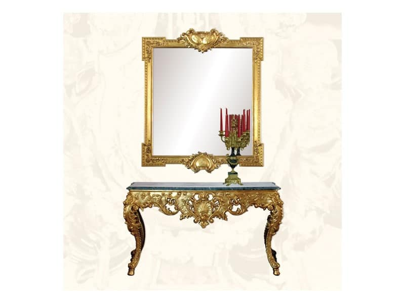 Specchiera art. 162, Specchiera di lusso con finitura in foglia oro