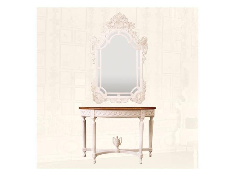 Specchiera art. 163, Specchiera in legno intagliato a mano, per salotti di lusso