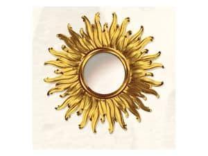 Specchiera art. Big Light, Grande specchiera a forma di sole, con finiture in oro