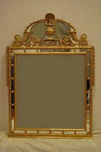 SPECCHIERA CON CIMASA ART. CR 0061, Specchio con cimana, intagliato a mano, dorato