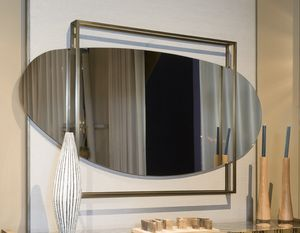 ATENA specchiera GEA Collection, Specchiera arrotondata, con cornice squadrata in ottone