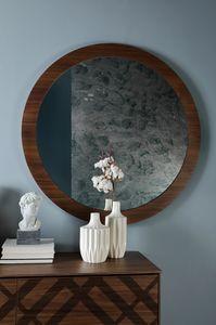 BRIGITTE, Specchiera tonda, con cornice in legno