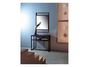 Dorian, Specchio con cornice lineare in legno massello