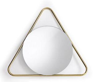 Frame T, Specchio tondo con cornice triangolare