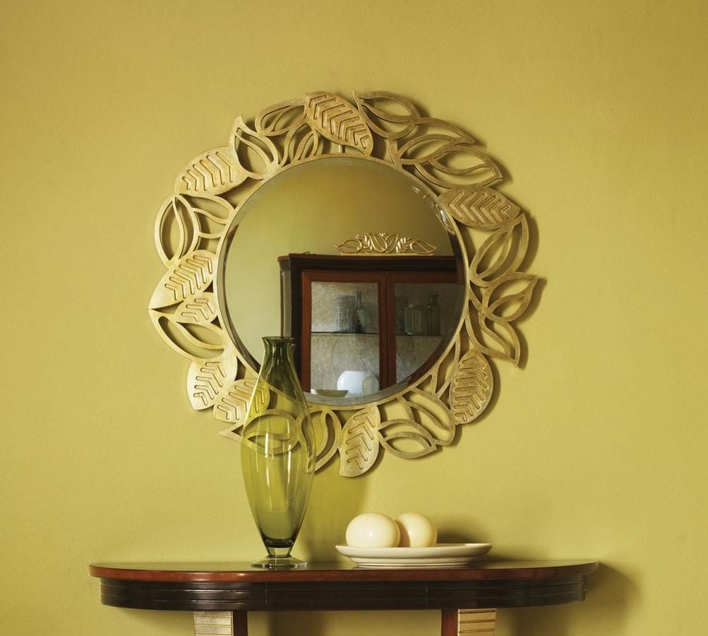 Grand Etoile Art. GE010, Specchiera tonda, con cornice a foglie