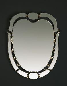HF2007MI, Specchiera ovale con finiture oro