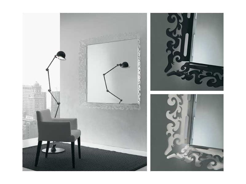 k199 mirror, Specchio con cornice decorata in plexiglass