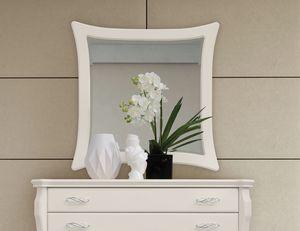 MONTE CARLO / specchiera, Specchiera con cornice laccata bianca