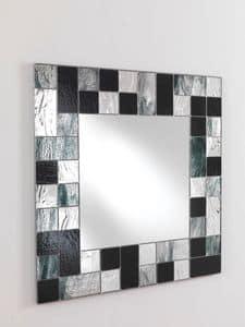 Specchio 05, Specchio quadrato, con cornice in vetro a mosaico