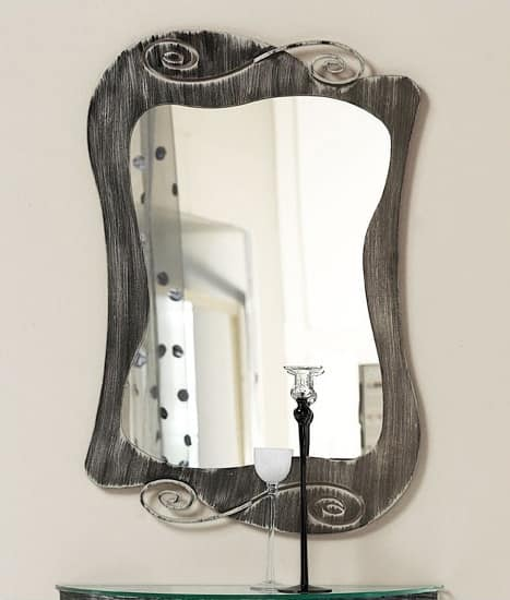 Specchio Mirò, Specchio con cornice curvilinea in ferro