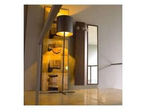 Wing, Specchio con appendiabiti, fissaggio a parete