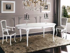 Art. 3188, Tavolo ovale laccato bianco