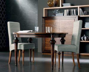Etoile Art. ET009/B/MO, Tavolo in legno con piano ovale allungabile