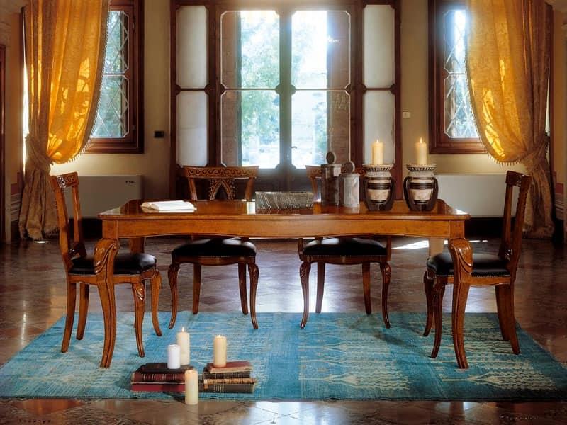 ... estensibile 8252T, Tavolo allungabile in legno con gambe intarsiate