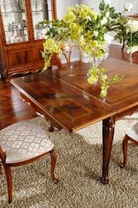 OLIMPIA B / Tavolo rettangolare allungabile, Tavolo classico in legno intagliato, per Sala da pranzo