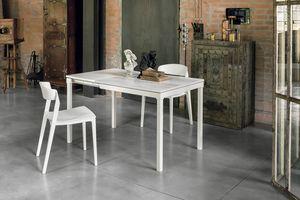 PERIGEO 85 TA159, Tavolo allungabile in metallo, piano in laminato, in stile moderno