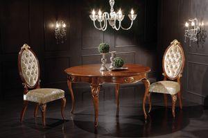 Princes tavolo tondo allungabile, Tavolo da pranzo in legno, con piano allungabile