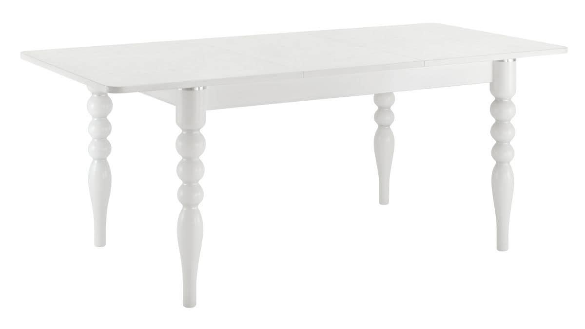 TA29, Tavolo rettangolare allungabile, piano in laminato, gambe in faggio con inserti in alluminio