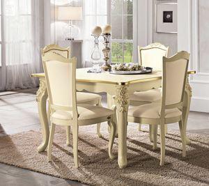 Viola tavolo quadrato, Tavolo neoclassico, con gambe intagliate