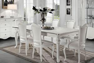 Viola tavolo rettangolare, Tavolo allungabile, stile neoclassico
