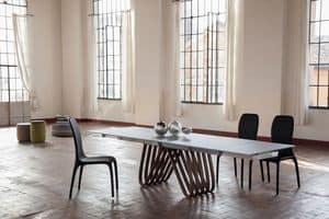 ARPA, Tavolo allungabile o fisso, con top in vetro, legno, marmo o ceramica