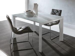 Art. 629 Silver, Tavolo allungabile moderno con gambe triangolari