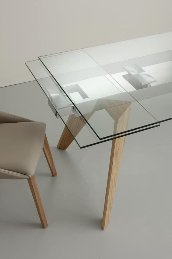 Art. 655 Origami, Tavolo allungabile in vetro, acciaio e frassino massiccio