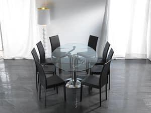 Art. 656 Ellisse, Tavolo ellittico in vetro, con base in metallo cromato