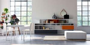 Calipso, Tavolo allungabile, piano in vetro, per cucine moderne