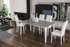 MAGELLANO TA401, Tavolo allungabile in vetro adatto per sale da pranzo moderne