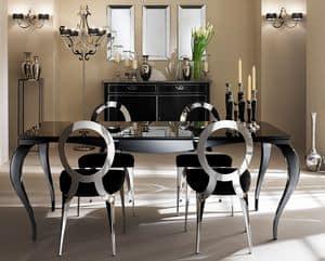 Raffaello tavolo, Tavolo con gambe in alluminio, piano serigrafato