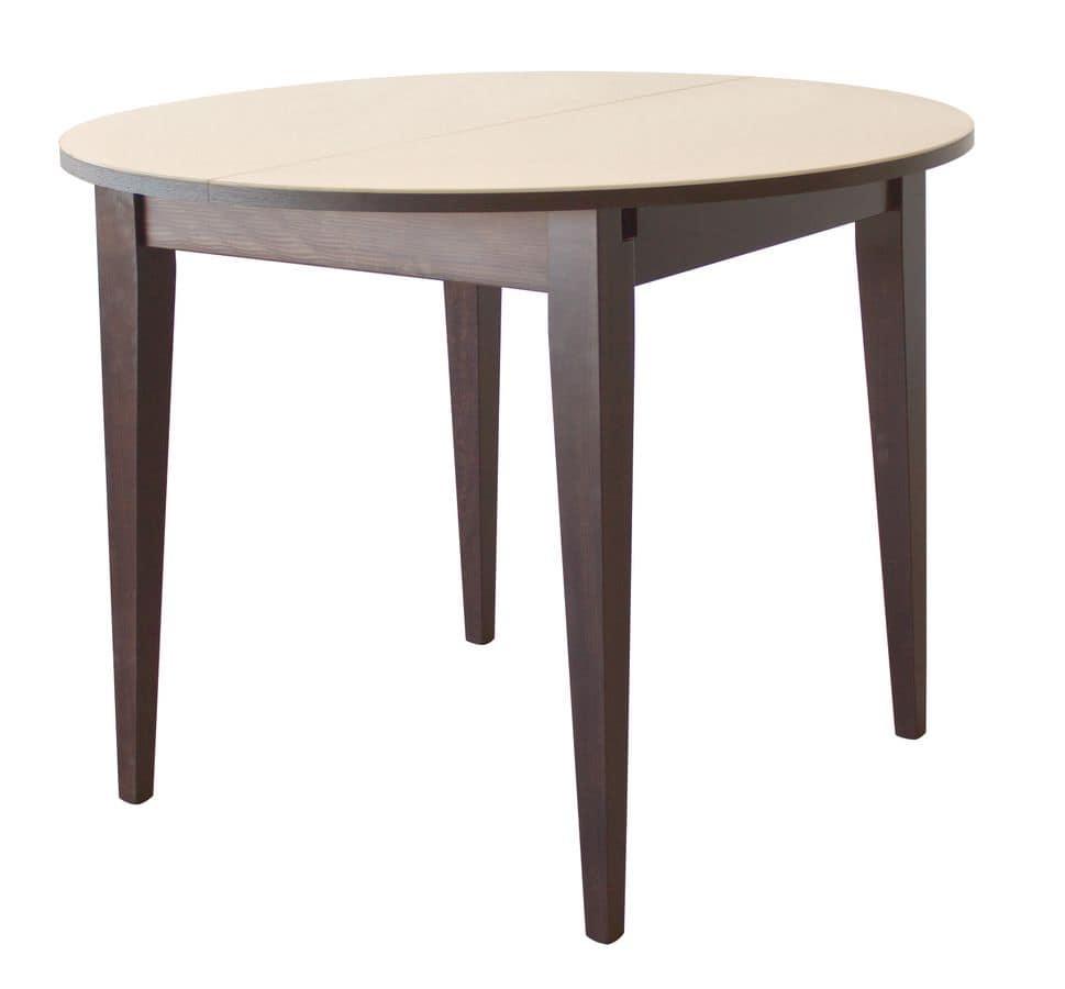 TA03, Tavolo tondo allungabile, in legno, piano in cristallo