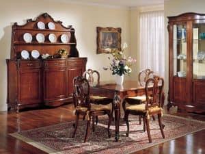3145 TAVOLO, Tavolo quadrato allungabile classico, in legno di noce