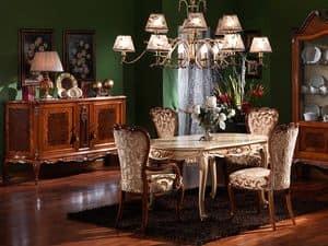 3480 TAVOLO, Tavolo intagliato ovale, stile Luigi XV, finiture laccate