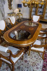 Art. 2011 tavolo, Tavolo ovale con piano intarsiato